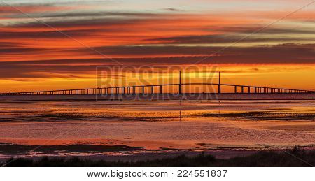 Sunshine Skyway Bridge at Sunrise - St. Petersburg, Florida