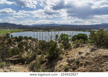 Photo of Wide Hollow Reservoir near Escalante Utah USA taken from the nearby Petrified Forest State Park.