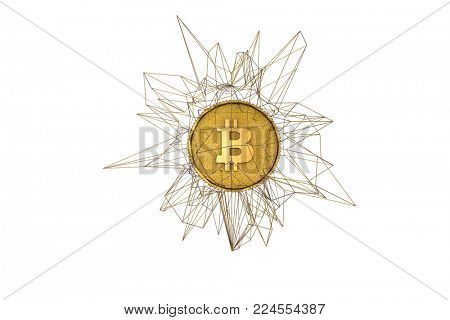 3d illustration of gold coin with B netted by abstract net