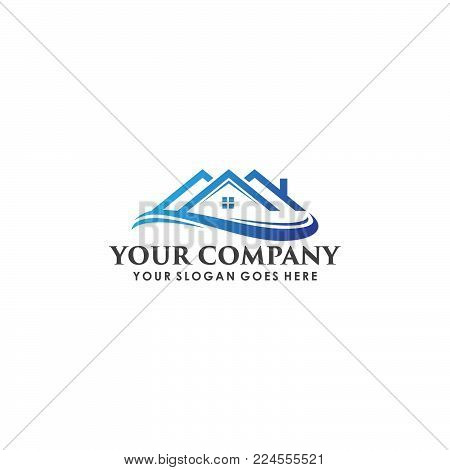 Real estate Logo - An illustration of a real estate logo representing a blue roof of a house with wave ilustration