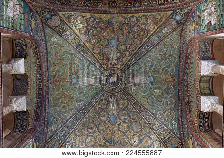 RAVENNA, ITALY - JUNE 15, 2017: Mosaics in Basilica of San Vitale. Built in VI century, it is one of the most important examples of early Christian Byzantine art and architecture in Europe
