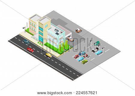 isometric hospital building with parking, landscape, emergency vehicles, ambulances, eps vector format, jpeg