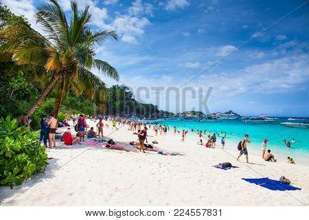 PHUKET, THAILND- JAN 25, 2016: Tropical beach at Similan Island on Jan 25, 2016 in Andaman Sea, Thailand.
