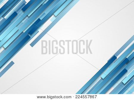 Blue geometric abstract tech diagonal stripes background. Vector illustration design template