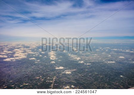 Bird Eye View Of Residential Landed Early In Thailand. Aerial View From The Window Of An Airplane