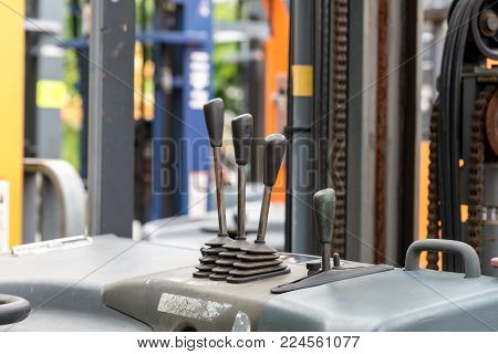 Focus To Levers Wheel Control In Cabin Forklift Truck