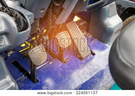 Acceleration, Clutch And Break Pedals In Forklift Truck