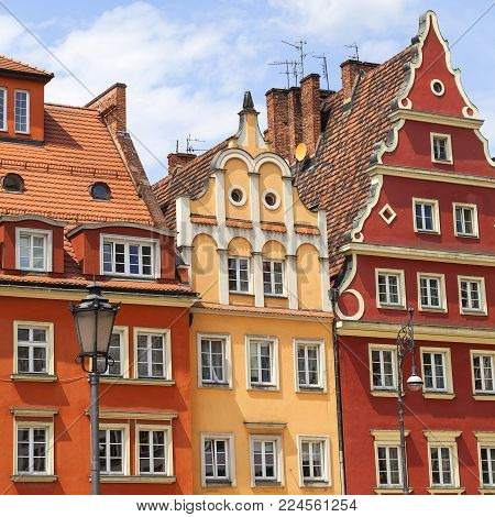Main market square ,colorful tenement houses, Lower Silesia, Wroclaw, Poland. It is one of the largest markets in Europe