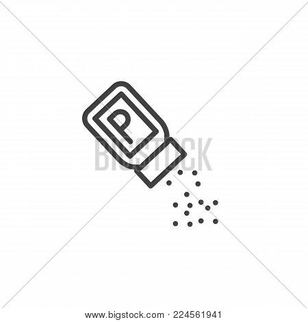 Pepper shaker line icon, outline vector sign, linear style pictogram isolated on white. Symbol, logo illustration. Editable stroke