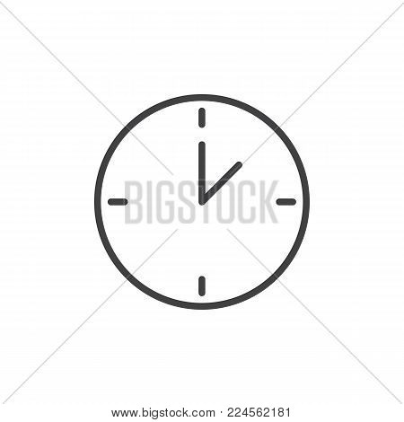 Wall clock line icon, outline vector sign, linear style pictogram isolated on white. Watch, time symbol, logo illustration. Editable stroke
