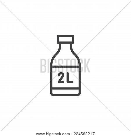 Two liter bottle line icon, outline vector sign, linear style pictogram isolated on white. Symbol, logo illustration. Editable stroke
