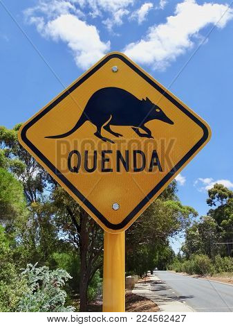 A Warning Sign To Motorist That They Need To Be On The Lookout For A Rare Animal Marsupial Called Qu