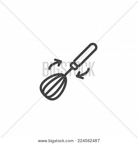 Whisk and arrows line icon, outline vector sign, linear style pictogram isolated on white. Kitchenware whisking beater symbol, logo illustration. Editable stroke