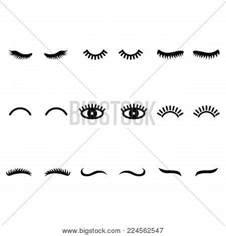 Vector eyelashes. Cute lashes in cartoon style. Closed eyes. Icons for web isolated on white background.