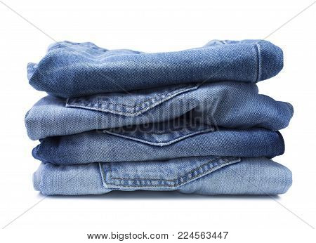 Image of blue jeans on a white background
