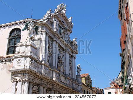 Facade of Santa Maria Zobenigo church (Chiesa di Santa Maria del Giglio) in Venice, Italy