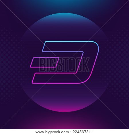 Dash vector outline icon. Cryptocurrency, e-currency, payment crypto currency, blockchain button. Trendy Bright lighting logo adaptation design web site mobile app, EPS. Ultra violet background