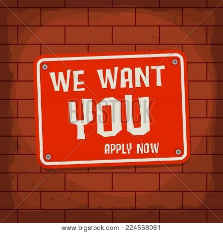 We Want You, Apply Now Poster or Banner Abstract Design, vector illustration poster
