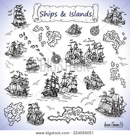 Design set with old sailing ships, treasure islands, compasses. Pirate adventures, treasure hunt and old transportation concept. Hand drawn vector illustration, vintage background