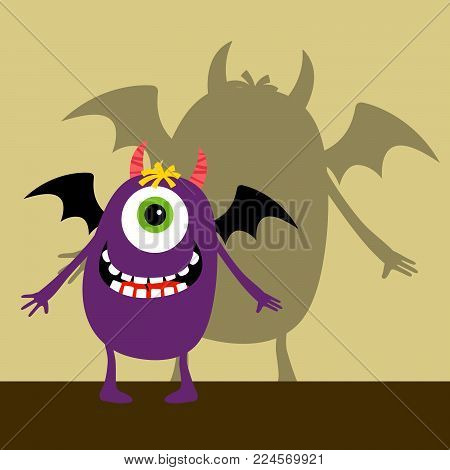 Cyclops violet happy monster with shadow vector illustration