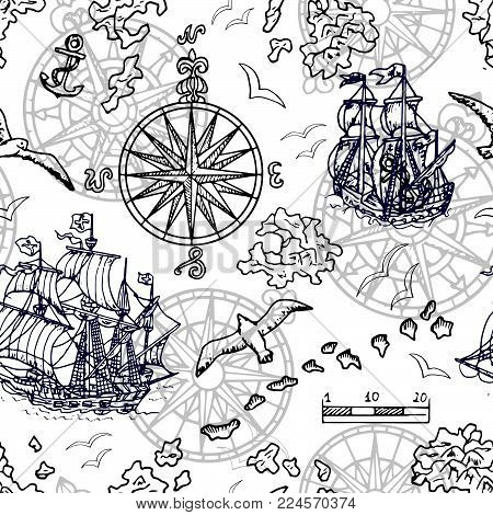 Seamless background with old sailing ship, gulls, compass and treasure islands on white. Pirate adventures, treasure hunt and old transportation concept. Hand drawn vector illustration, vintage background