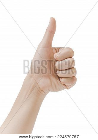 woman hand show thumb up isolated on white background is a good sign. File contains a clipping path.