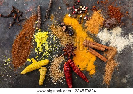 Guarana Nuts And A Metal Mortar On Wooden Background, Top View, Banner