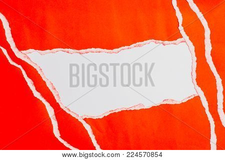 red torn paper with edges on white paper and text copy space. Using idea design background