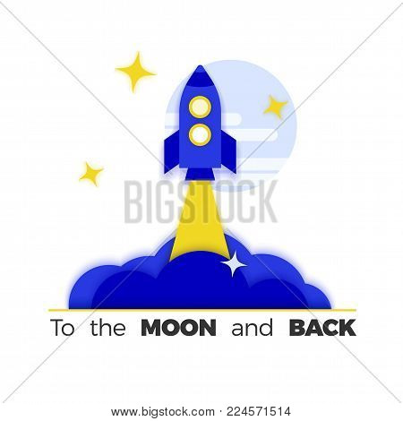 Rocket launch vector illustration. Imagination without limits concept, startup or product launch metaphor. Isolated on white, flat design.