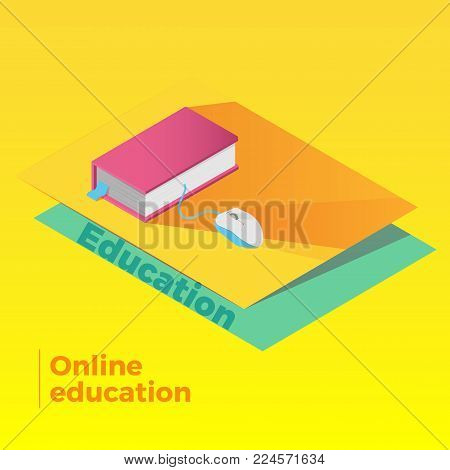 E-learning concept. Online education vector illustration. Book with computer mouse attached. Flat isometric design, isolated. E-book, online library symbol.