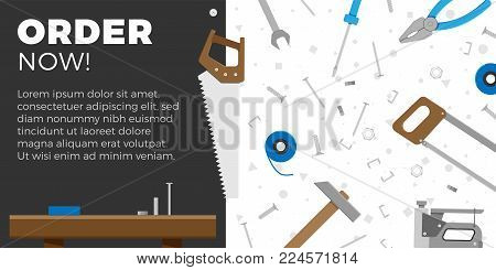 DIY business banner or website element design. Vector illustration of home DIY tools with text area for your advertising. Home repair objects. Construction tools. Hand tools for home renovation.
