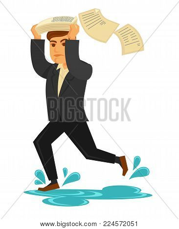 Man in stylish suit and leather shoes runs fast through puddles under rain and cover his head with pile of papers that flies away isolated cartoon flat vector illustration on white background.