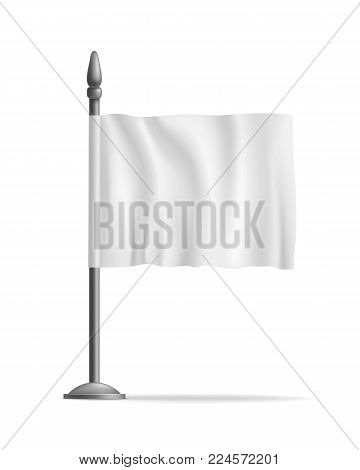 White waving flag streamer, template, isolated. Outdoors information ridgepole for inscriptions, slogans, mottos and so on. Vector illustration of canvas
