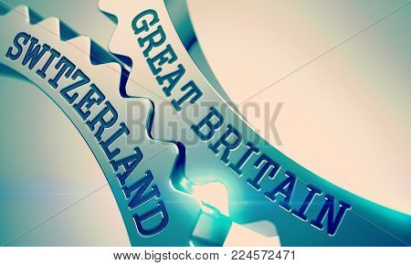 Great Britain Switzerland on Mechanism of Metallic Cogwheels. Communication Concept in Technical Design. Great Britain Switzerland Metallic Gears - Enterprises Concept. with Glow Effect. 3D .