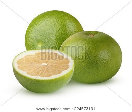 Citrus Sweetie (Pomelit, Citrus 'Oroblanco), isolated on a white background. Two whole fruit and half with shadow.