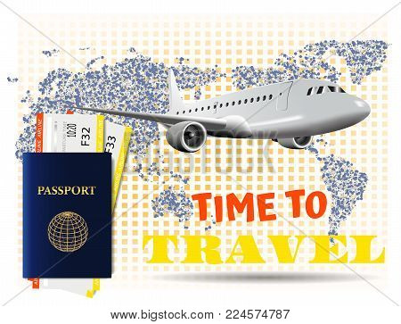 Special offer on business Travel. Business trip banner. Passport with tickets. Air travel concept. Business travel illustration.