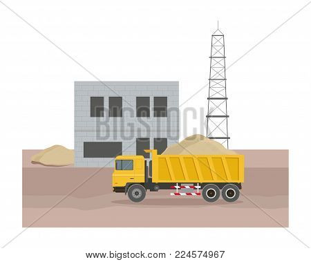 Building factory industry zone. Construction specialized transport and lorry. Flat Vector graphic