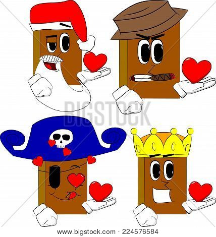Books holding red heart in his hand. Cartoon book collection with costume faces. Expressions vector set.