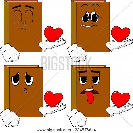 Books holding red heart in his hand. Cartoon book collection with sad faces. Expressions vector set.