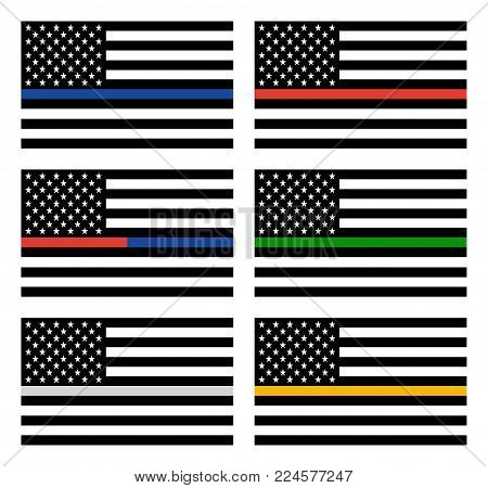 Vector American Thin Line Flag Set - gold, blue, red, silver, green