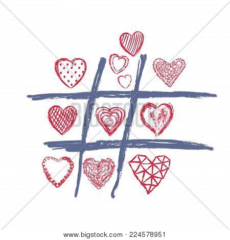 Tic tac toe game, valentines day love background. Hand drawn cross-zero with doodle heart, arrows and lips, color vector illustration. Romantic happy holiday design