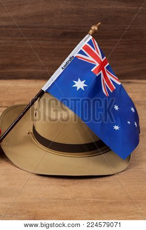 Anzac Army Slouch Hat With Australian Flag On Vintage