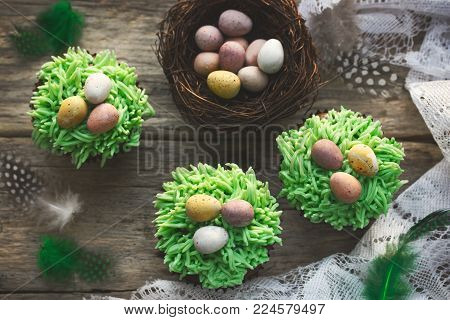 Easter cupcakes decorated with green grass frosting and easter candy eggs on wooden background with speckled feathers and bird nest top view