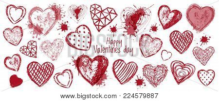 Hand drawn doodle heart banner, happy valentines day, red white color vector illustration. Love wallpaper. Abstract design, romantic holiday decoration