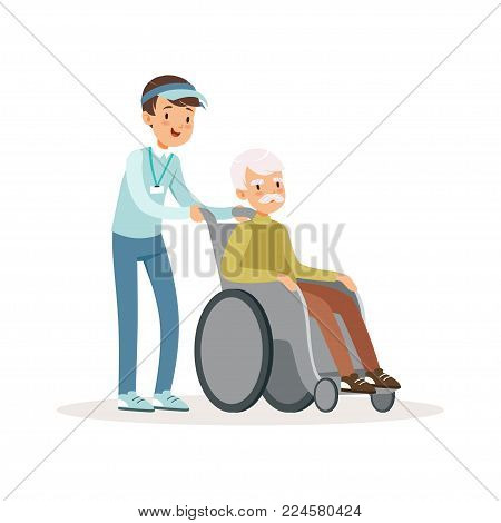 Cheerful teen boy pushing old man on wheelchair. Disability assistance. Kid in blue cap, shirt and jeans. Cartoon people character. Volunteering concept. Flat vector illustration isolated on white.