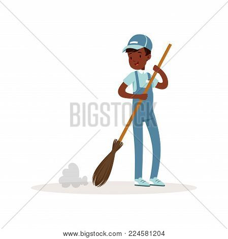 Smiling afro-american kid sweeping floor with broom. Young volunteer at work. Teenager boy in blue working overall, t-shirt and cap. Colorful flat vector illustration isolated on white background.