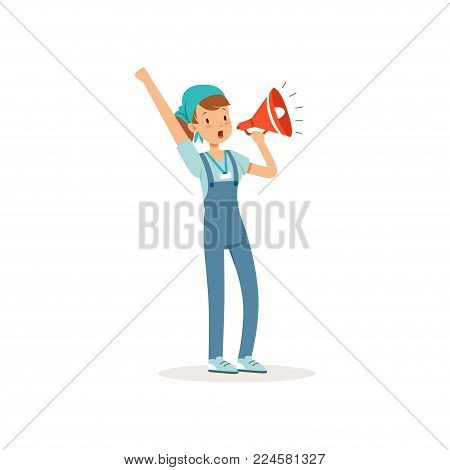 Volunteer girl standing and loudly screaming in megaphone. Cartoon teenager character in blue t-shirt, working overall and bandana. Colorful flat vector illustration isolated on white background.