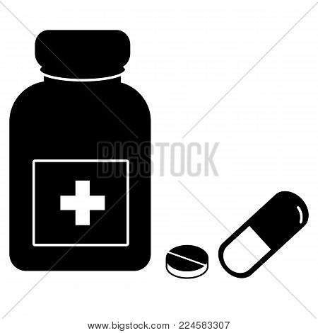 medicine icon on white background. pills and capsule icon. medicine bottle and pills. medicine sign.