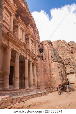 Large panoramic view of Al-Khazneh (The Treasury), Beautiful temple in the ancient Arab Nabatean Kingdom city of Petra.