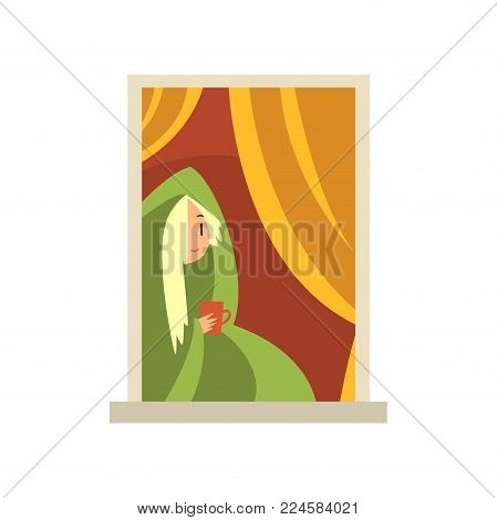 Blond girl sitting near window. Young woman wrapped in warm blanket drinking mug of hot coffee. View on apartment building from street. Colorful flat vector illustration isolated on white background.